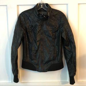 Ci Sono Faux Leather Black Zip Moto Jacket